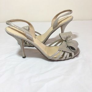 Kate spade bow silver shimmer heel sandals